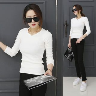 Round-Neck Ribbed Slim-Fit T-Shirt 1064825123