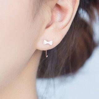 Image of 925 Sterling Silver Bow Semi-Hoop Earrings