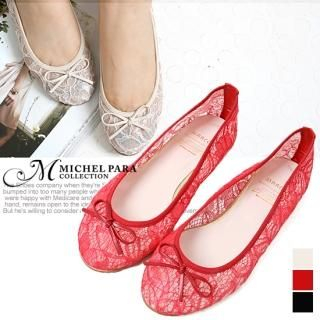 Picture of MICHEL PARA COLLECTION Bow-Accent Lace Flats 1022487101 (Flat Shoes, MICHEL PARA COLLECTION Shoes, Korea Shoes, Womens Shoes, Womens Flat Shoes)