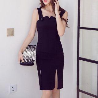 Slit Sleeveless Dress 1050956272
