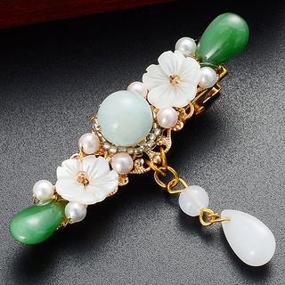 Image of Retro Flower & Bead Hair Clip Hair Clip - One Size