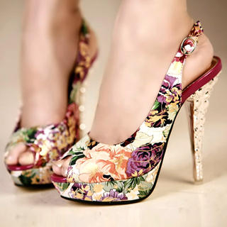 Buy Kvoll Peep-Toe Floral Platform Stiletto 1022979451