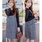Set: Long-Sleeve T-Shirt + Plaid Pinafore Dress 1596