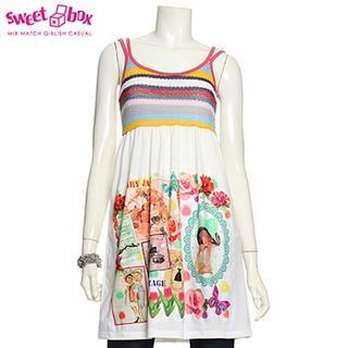 Buy Sweetbox Smocked Sleeveless Printed Dress 1022992491