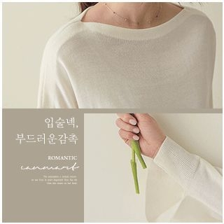Boat-Neck Knit Top 1065337579