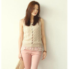 Lace Underlay Sleeveless Cable-Knit Vest 1596
