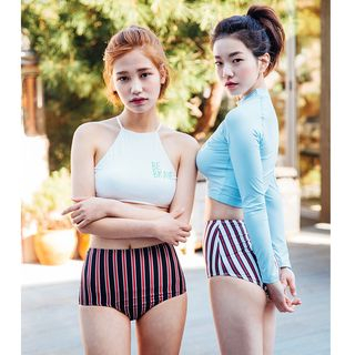 Letter Long-Sleeve 2-piece Swimsuit 1060905638