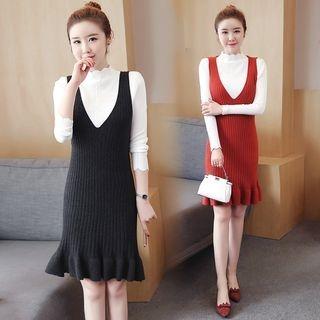Set: Mock Neck Long-Sleeve Knit Top + Pinafore Dress 1062565409