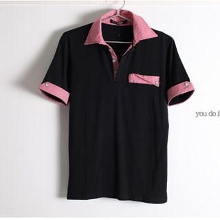 Picture of SERUSH Check Trim Short-Sleeve Shirt 1022545094 (SERUSH, Mens Tees, Taiwan)