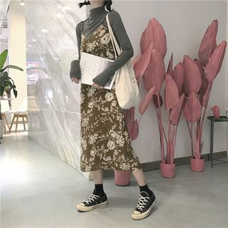 Long-Sleeve T-Shirt / Strappy Midi A-Line Dress / Set 1062521008