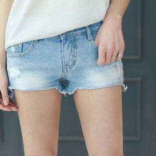 Distressed Washed Denim Shorts 1058024792