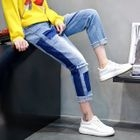 Two-Tone Cropped Straight-Fit Jeans 1596