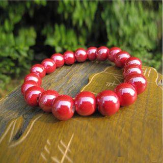 Image of Ceramic Bead Bracelet Red - One Size