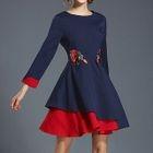 3/4-Sleeve Two-Tone Embroidered A-Line Mini Dress 1596