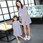 Family Matching Pinstriped Cut Out Shoulder Short Sleeve Dress 1596