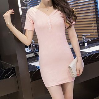 Short-Sleeve V-Neck Dress 1050218680