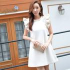 Wool Blend Frilled-Trim A-Line Dress 1596