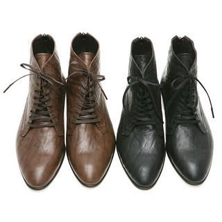 Picture of SLOWBABA Genuine Leather Ankle Boots 1021687179 (Boots, SLOWBABA Shoes, Korea Shoes, Mens Shoes, Mens Boots)