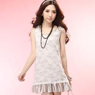 Buy Tokyo Fashion Sleeveless Lace-Overlay Satin Dress 1022996197