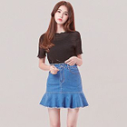 Ruffle Hem Mini Denim Skirt 1596