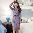 Long-Sleeve Sheath Lace Dress 1596