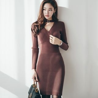 Cut Out Front Ribbed Long Sleeve Knit Dress 1058086679