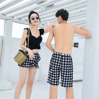 Image of Couple Matching Bikini Top / Plaid Swim Skirt / Swim Shorts / Set