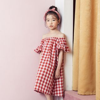 Shoulder | Sleeve | Plaid | Short | Dress | Off | Kid