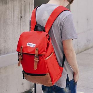 Leather Panel Buckled Lightweight Backpack
