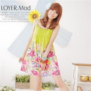 Buy LOYER.mod Beaded Neckline Floral Sundress Green – One Size 1022795747