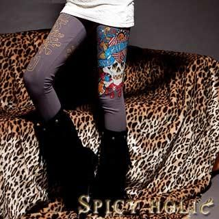 "Buy SPICY HOLIC Rhinestone ""Skull"" Print Leggings 1022074419"