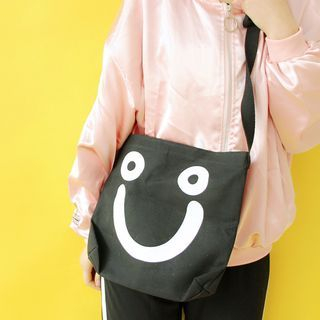 Smiley Face Print Crossbody Bag