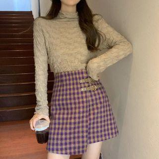 Long-sleeve Turtleneck Shirred Top / Plaid Mini A-line Skirt