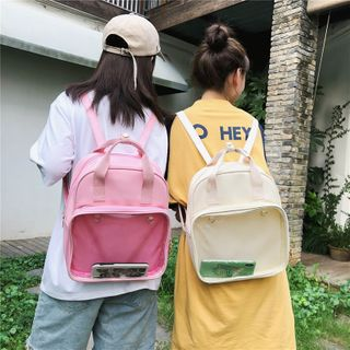 Image of Transparent Faux Leather Backpack