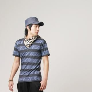 Buy Hwang Kum Style V-Neck Stripe T-Shirt 1022790309