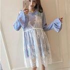 Maternity Set: Striped Dress + Sleeveless Lace Dress 1596