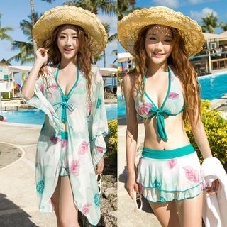 Set: Floral Print Bikini Top + Swimskirt + Cover-Up 1048808820