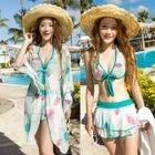 Set: Floral Print Bikini Top + Swimskirt + Cover-Up 1596