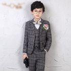 4-Piece Set: Check Dress Vest + Shirt + Dress Pants + Bow Tie 1596