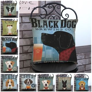 Image of Dog Printed Sofa Cushion Cover