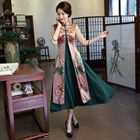 Set: Plain Midi Tank Dress + Floral Print Elbow Sleeve Mandarin Collar Coat 1596