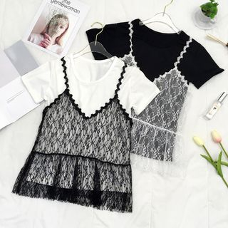 Set: Short-Sleeve Top + Spaghetti Strap Lace Top