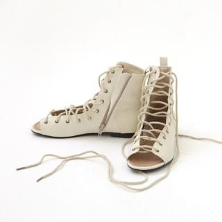 Picture of Youareagirl Lace-Up Open-Toe Ankle Boots 1022554170 (Boots, Youareagirl Shoes, Korea Shoes, Womens Shoes, Womens Boots)