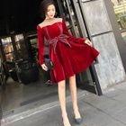 Long-Sleeve Velvet A-Line Mini Dress 1596