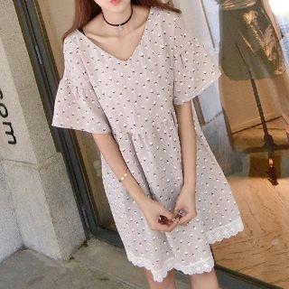 Short-Sleeve V-Neck Dress 1051005637