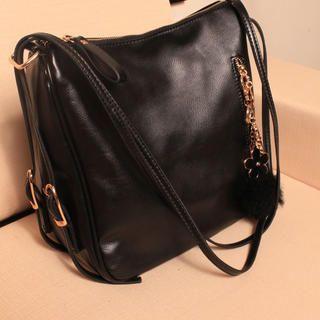 Pompom-Accent Zip Shoulder Bag