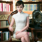 Cap-Sleeve Lace Cheongsam 1596