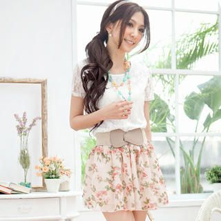 Buy Tokyo Fashion Mock Two-Piece Floral Chiffon Dress 1022911391