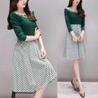 Set: Striped 3/4-Sleeve Knit Top + Chevron A-Line Skirt 1596