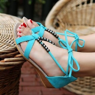 Faux-Suede Beaded Flat Sandals 1060520755